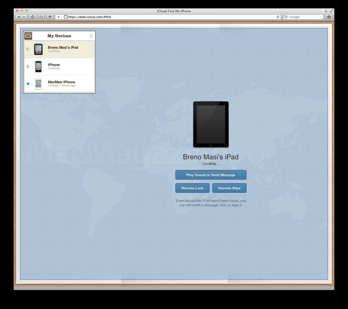 Find My iPhone no iCloud.com