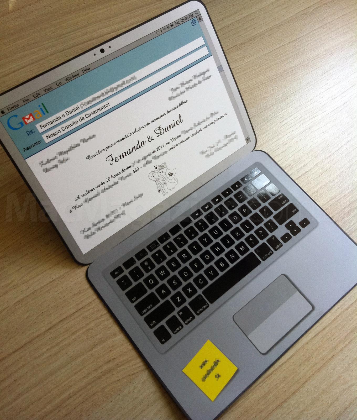 Convite de casamento geek - MacBook Pro