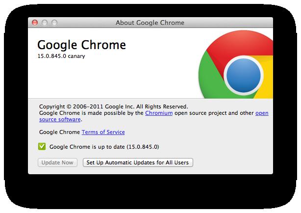 Google Chrome Canary com suporte ao OS X Lion