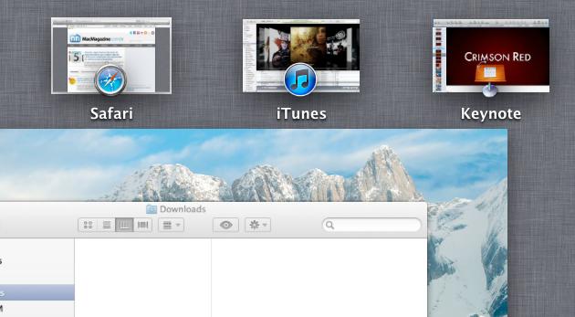 Apps em tela cheia no Mission Control do OS X Lion