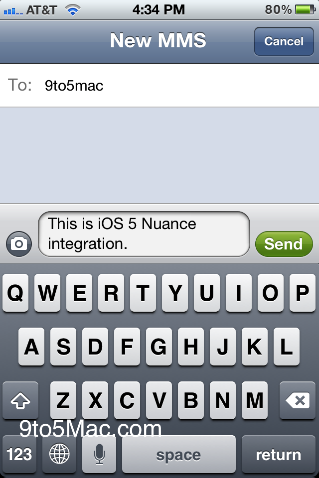 Speech recongnition da Nuance do iOS 5 beta 5