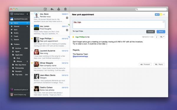 Sparrow 1.3.2 na Mac App Store