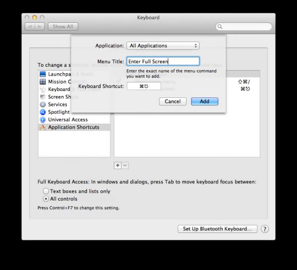 Configurando atalho de tela cheia - Passo 3