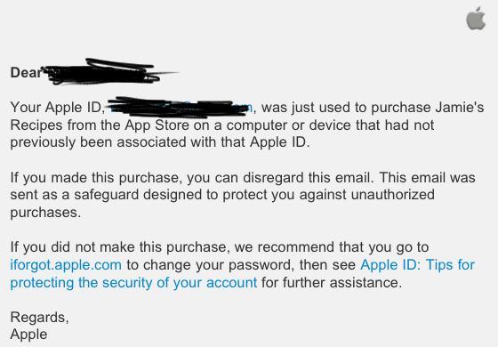 Email enviado pela Apple contra fraude na App Store