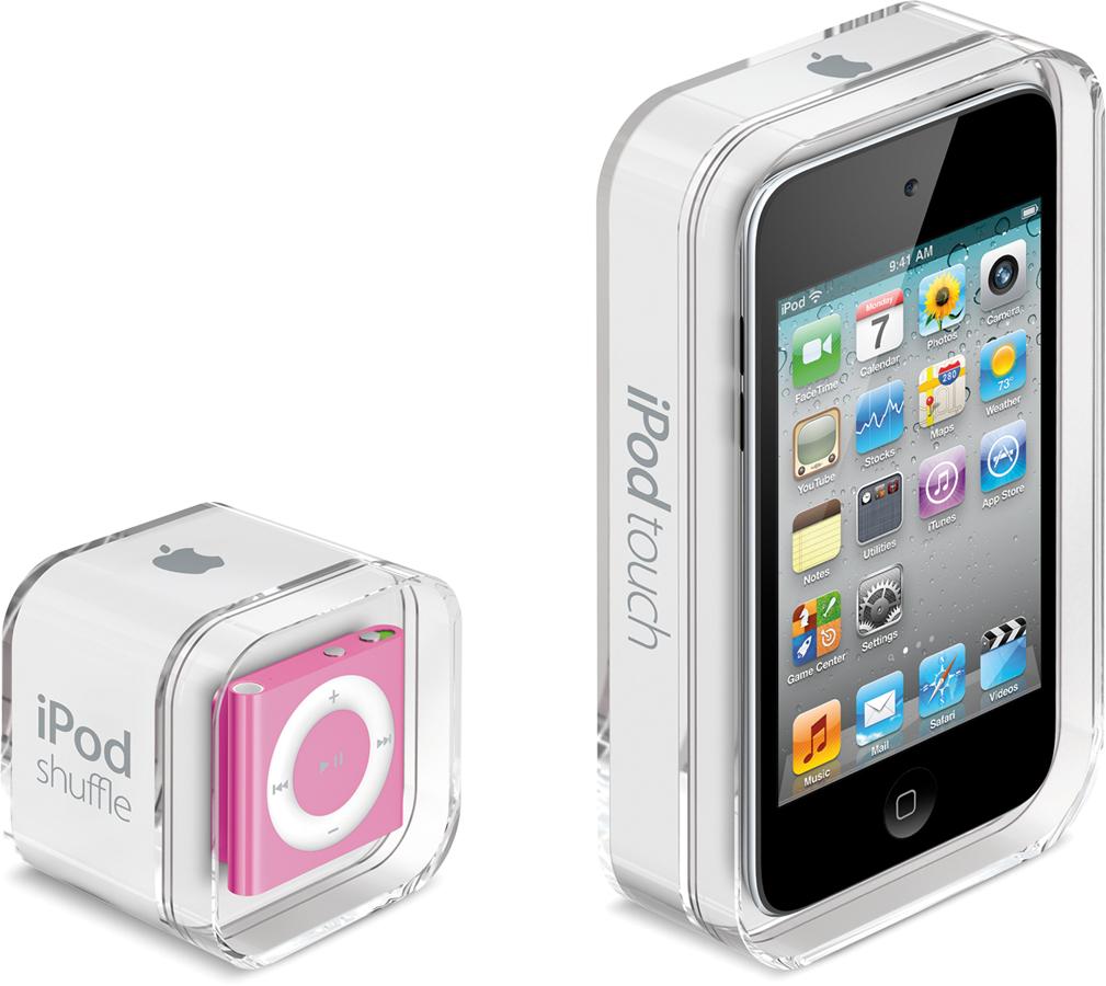 iPods touch e shuffle em suas caixinhas