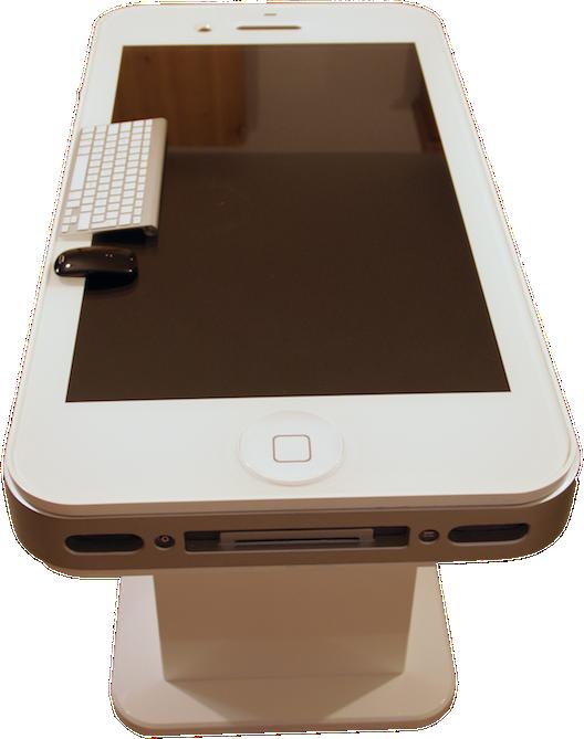 iTableous - iPhone 4 branco gigante em formato de mesa