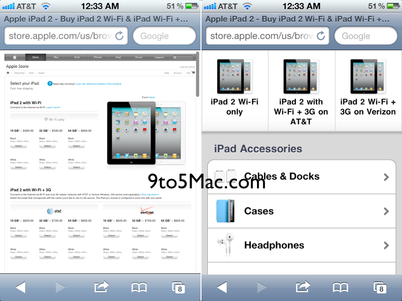 Apple Online Store mobile