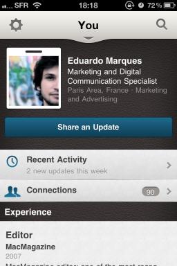 LinkedIn app — You
