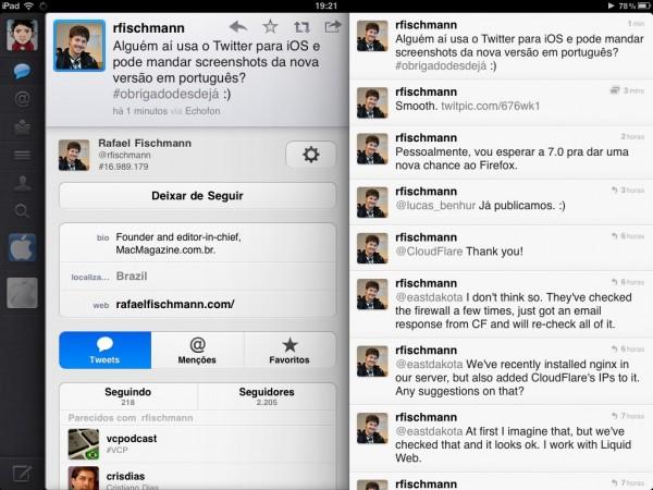 Twitter em português no iPad