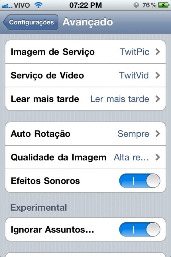Twitter em português no iPhone