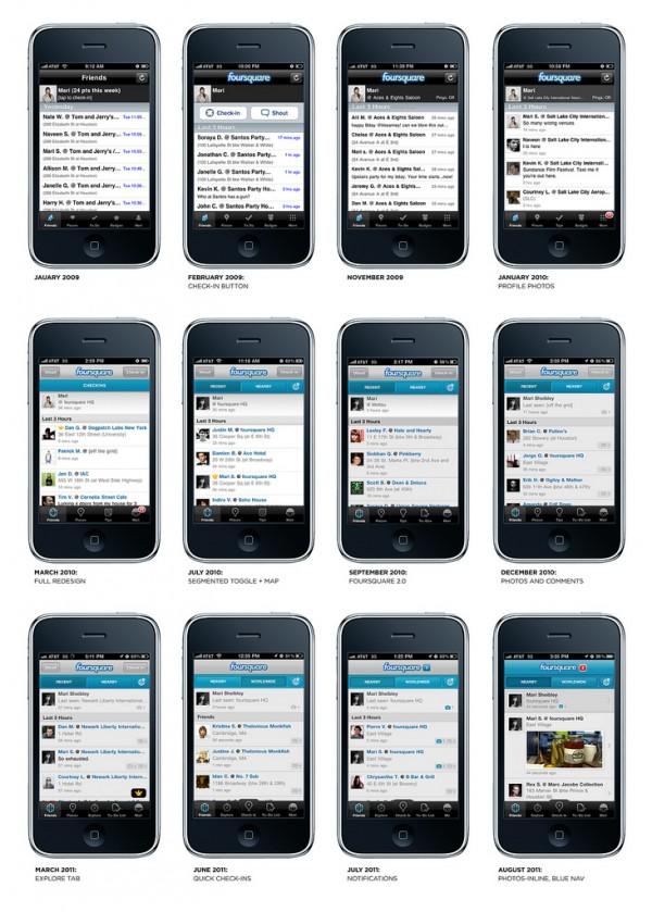 Evolução do app foursquare