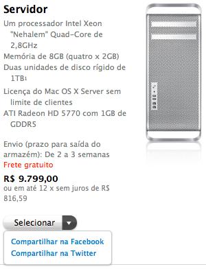 Compartilhamento social na Apple Online Store Brasil