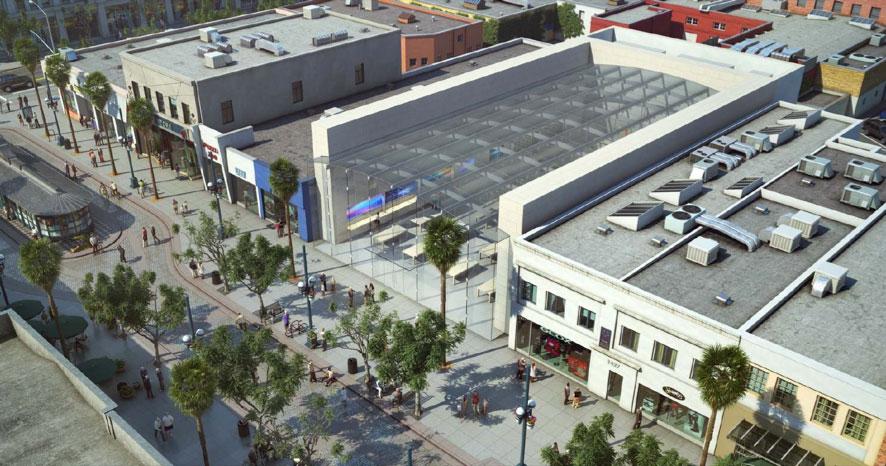 Nova Apple Retail Store em Santa Monica com teto de vidro