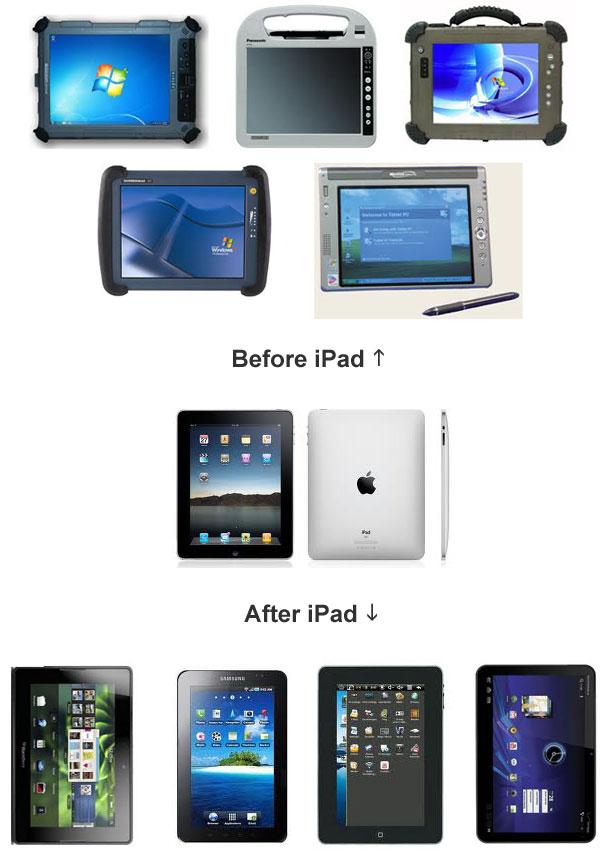 Design de tablets antes e depois do iPad