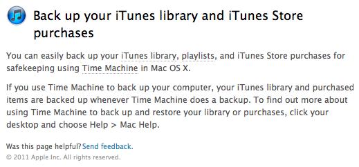 Novas recomendações de backup no iTunes