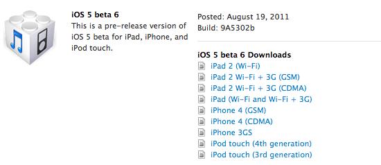 Beta 6 do iOS 5