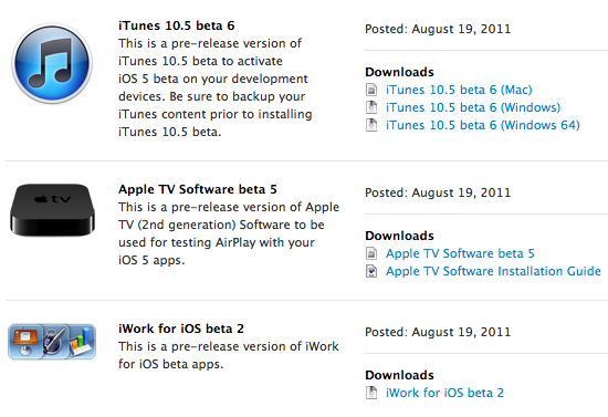 Novas versões de teste do iTunes, Apple TV firmware e iWork