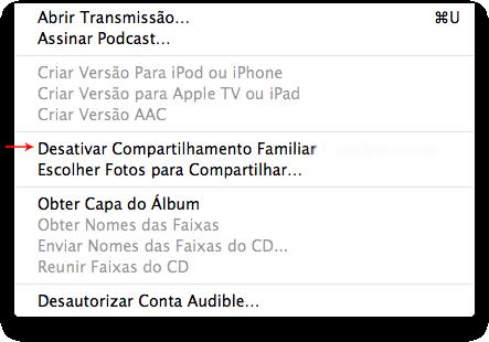 iTunes - Compartilhamento Familiar