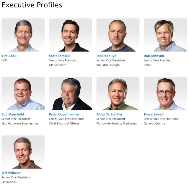 Página de executivos — Apple