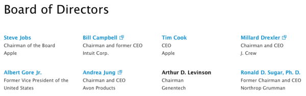 Página quadro de diretores —Apple