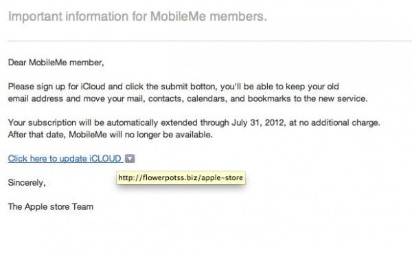 Golpe do upgrade do MobileMe para iCloud