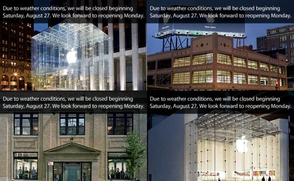 Apple Retail Stores fechadas por causa do furacão Irene