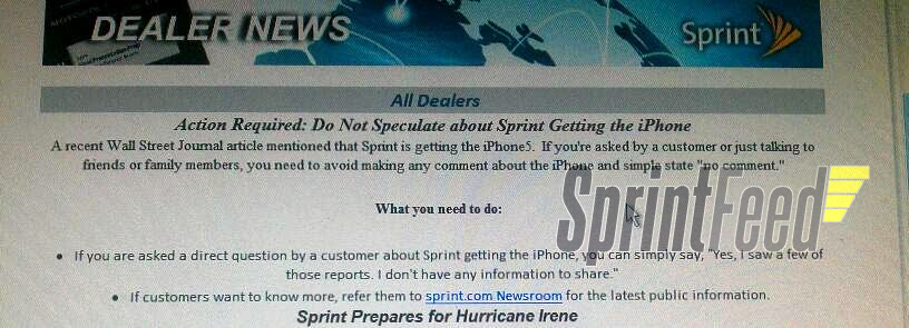 Empregados da Sprint sobre iPhone 5