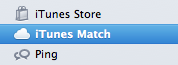 iTunes Match na barra lateral