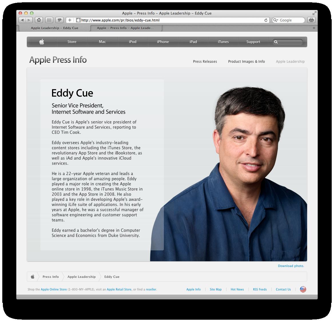 Eddy Cue como vice-presidente sênior de softwares e serviços de internet na Apple