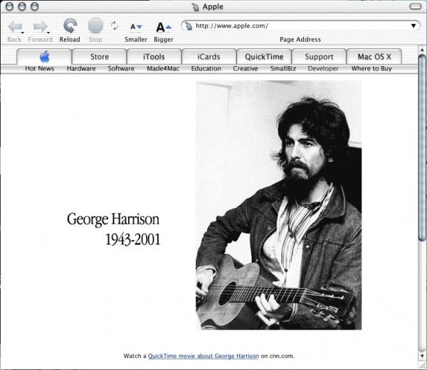 Apple.com com homenagem a George Harrison
