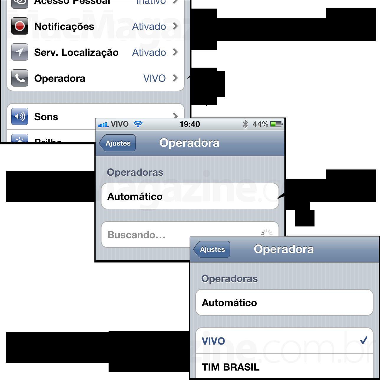 Configurando a operadora manualmente no iPhone