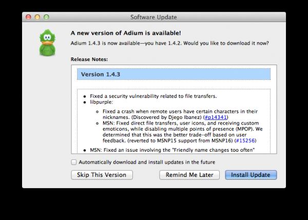 Update pro Adium 1.4.3