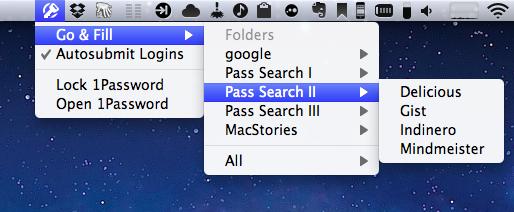 1Password na barra de menus do Mac OS X