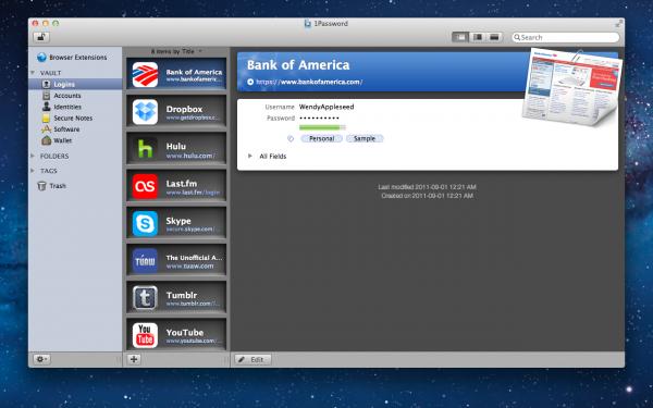 1Password 3.9 na Mac App Store