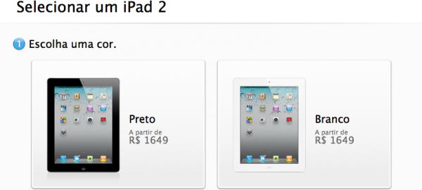 Escolhendo a cor do iPad —Apple Online Store