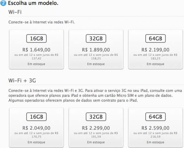 Escolhendo as especificações do iPad — Apple Online Store