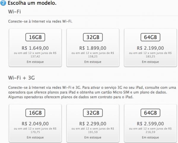 Escolhendo as especificações do iPad—Apple Online Store