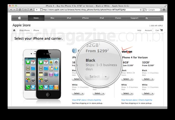 Entrega de iPhones 4 nos EUA