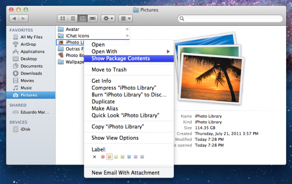 Show Package Contents — iPhoto Library