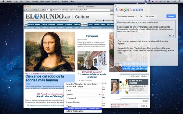 Translate Tab - Mac OS X