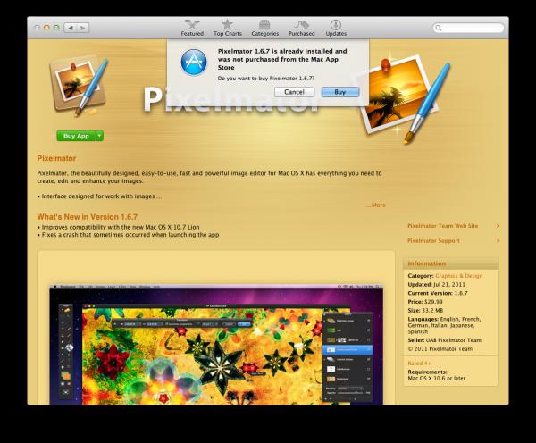Alerta de compra da Mac App Store