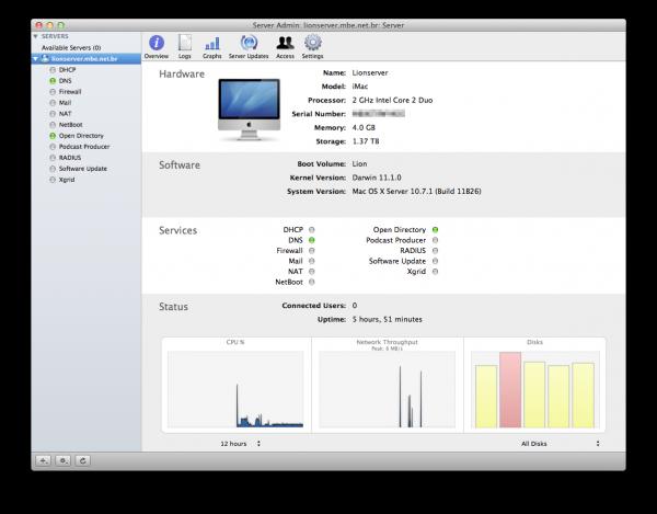 Screenshot do OS X Lion Server