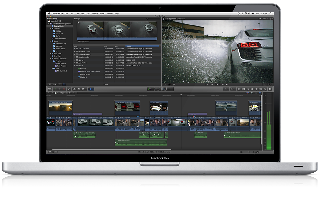 Apple Final Cut Pro X num MacBook Pro