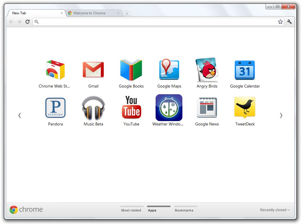 Google Chrome 15 Beta - New Tab