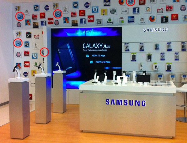 Ícones da Apple em parede da Samsung