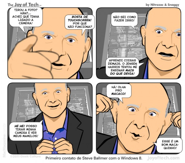 Joy of Tech - Primeiro contato de Steve Ballmer com o Windows 8