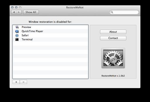 RestoreMeNot - Mac OS X