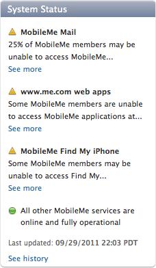 Problemas no MobileMe