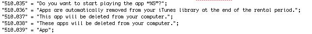 Referência a aluguel de apps no código do iTunes