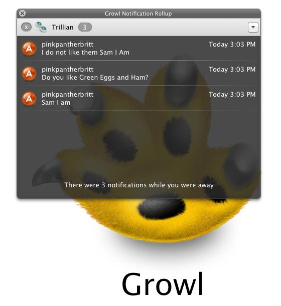 Janela Rollup do Growl 1.3